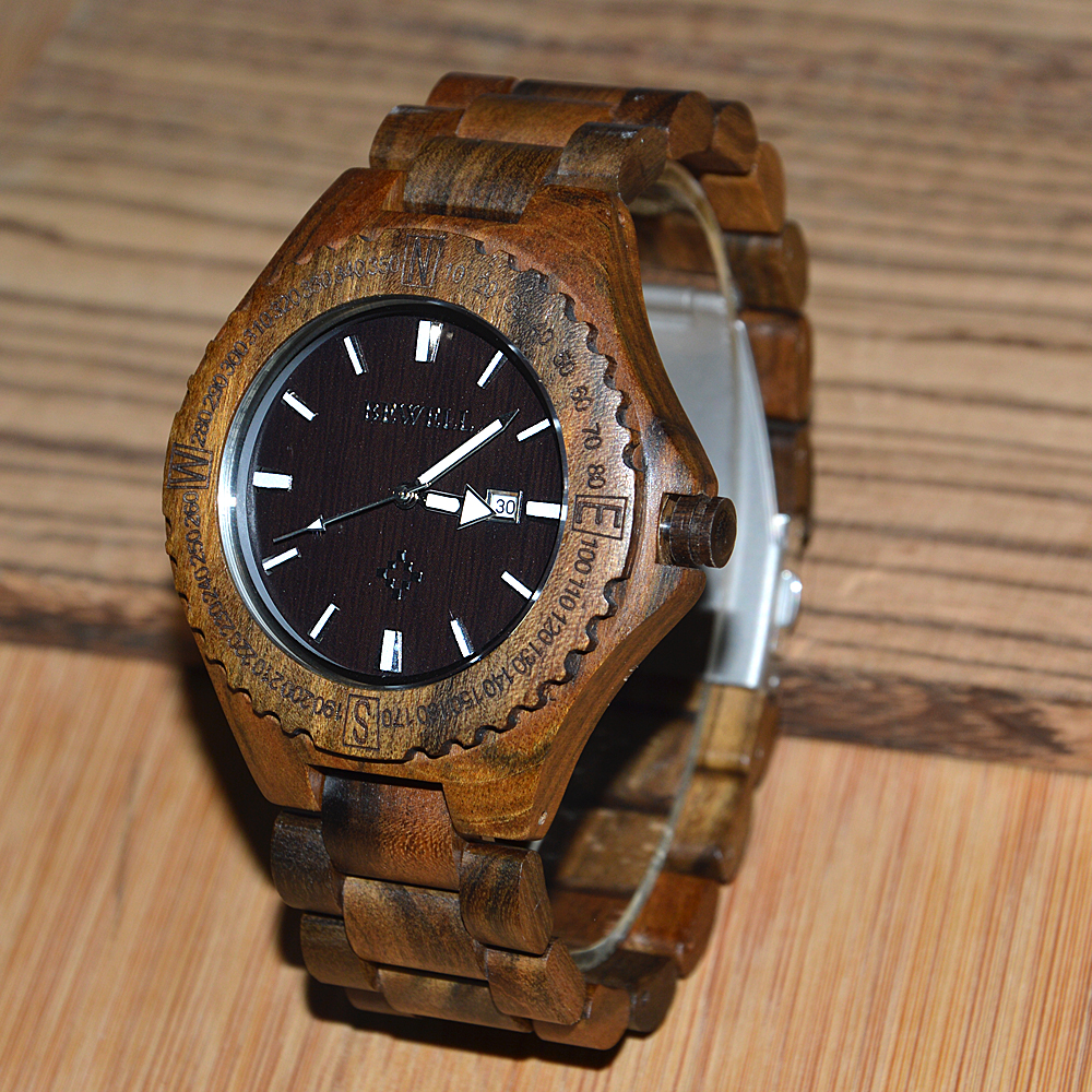 BEWELL heren horloges houten kist met houten band met kalender - Herenhorloges - Foto 5