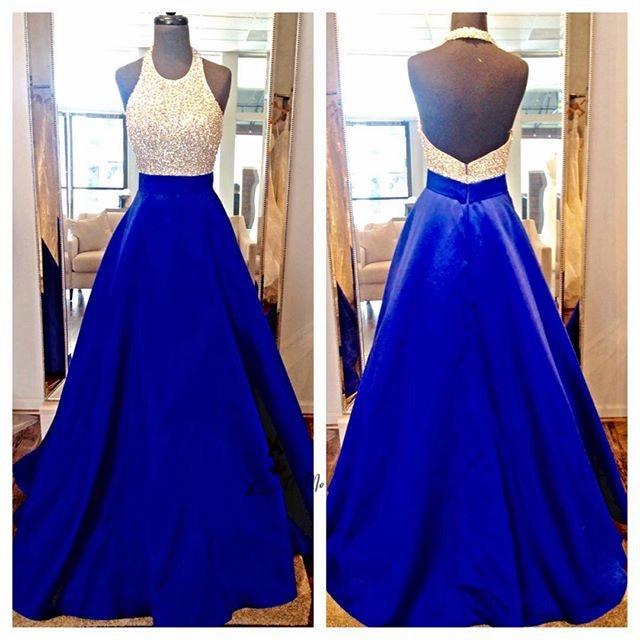 2018 Azul Royal Rosa Halter Backless do Baile de finalistas Vestidos Longos de Cetim Pérolas Até O Chão Vestido de Formatura de Noite Formal Do Partido Vestidos - 3