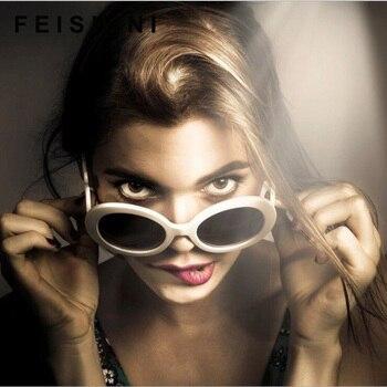 Feishini Candy Color Trend hip hop Unisex Sunglasses Women Round Clear Lens Vision Tinted Eyewear Ladies Vintage Glasses UV400 дамски часовници розово злато
