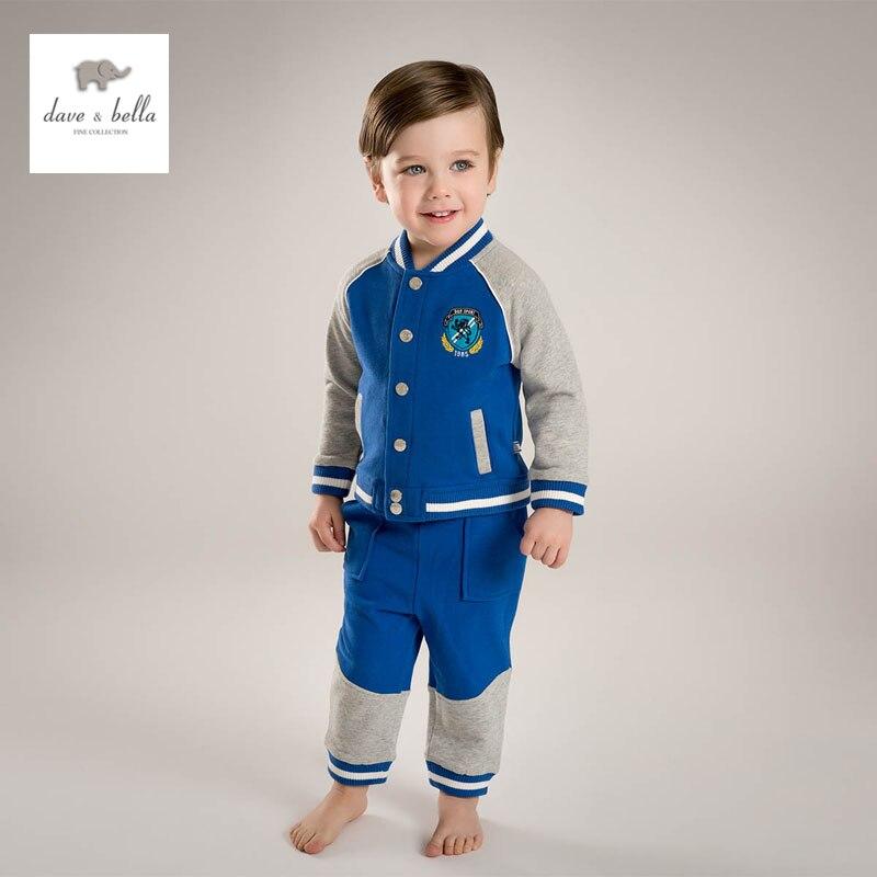 купить DB4751 dave bella spring baby boys sports clothing sets kids polo sets clothes 1set  toddle baseball set недорого