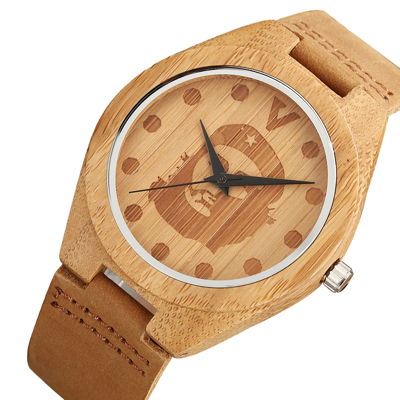 Che Guevara Pattern Wood Watch Male Black Hands Leather Band Bamboo Wooden Quartz Wristwatch Mens Womens Relogio Masculino 2018 hand made mens wooden bamboo quartz watch black genuine leather watchband simple unique modern wristwatch gift for male female