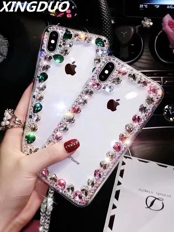XINGDUO Bling Lovely Crystal Diamond Rhinestone Phone Case For Huawei p30 p20 pro p10 lite/Mate 20 Pro Transparent fashion shell