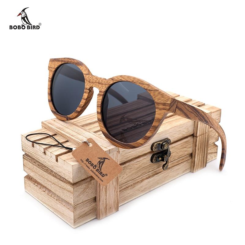 BOBO BIRD férfi szüreti fa bambusz napszemüveg polarizált tükörképes bevonat női zebra fa napszemüveg gafas de sol hombre