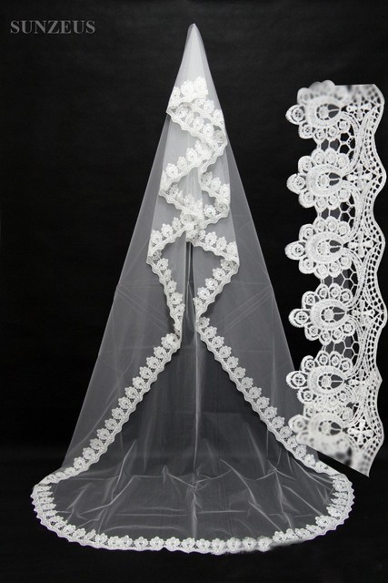 One Layer 3 Meters Appliqued Wedding Veil With High Quality Lace Edge Long Bride Veil