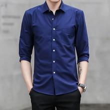 Designer Men Shirt Three Quarter 2019 Short Sleeve Oxford Dress with Chest Pocket Cotton Male Casual Solid CS75