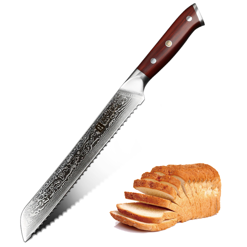 Vervoering Nieuwe Xinzuo ''inch Brood Mes Damascus Staal Vg10 Damascus Staal Mes Zaagtand Messen Keukenmes Met Palissander Handvat Van Het Grootste Gemak