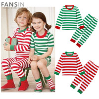 FANSIN Brand Baby Boys Girls Christmas Pajamas Kids Long Sleeve Xmas Cotton Clothes Set Children Autumn