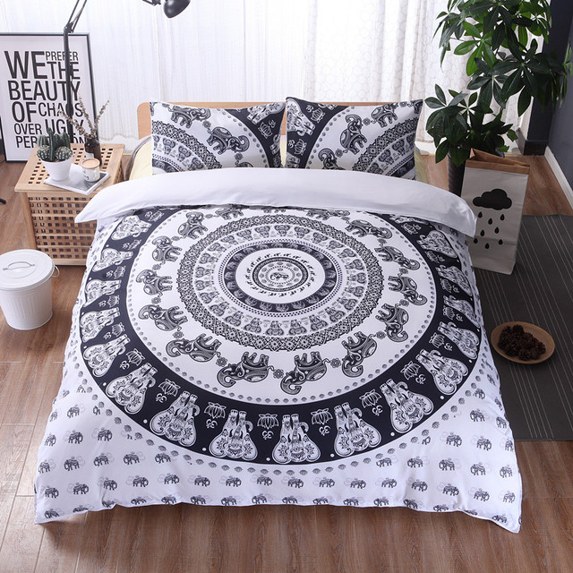boh me 3d l phant housse de couette mandala literie ensembles sham boho hiver drap reine king. Black Bedroom Furniture Sets. Home Design Ideas
