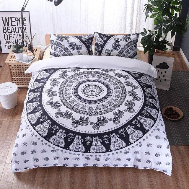 buy bohemian 3d elephant duvet cover set mandala bedding sets sham boho winter. Black Bedroom Furniture Sets. Home Design Ideas