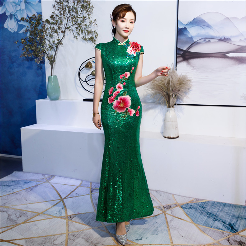 S 4XL Wedding Party Cheongsam Chinese style Womens Elegant Sexy Maxi Qipao Evening Dress Slim Long