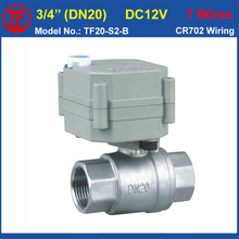 "TF20-S2-B, Full Port 3/4"" SS304 DN20 Electric Water Valve With Manual Override DC12V 7 Wires Metal Gear Actuated Valve"