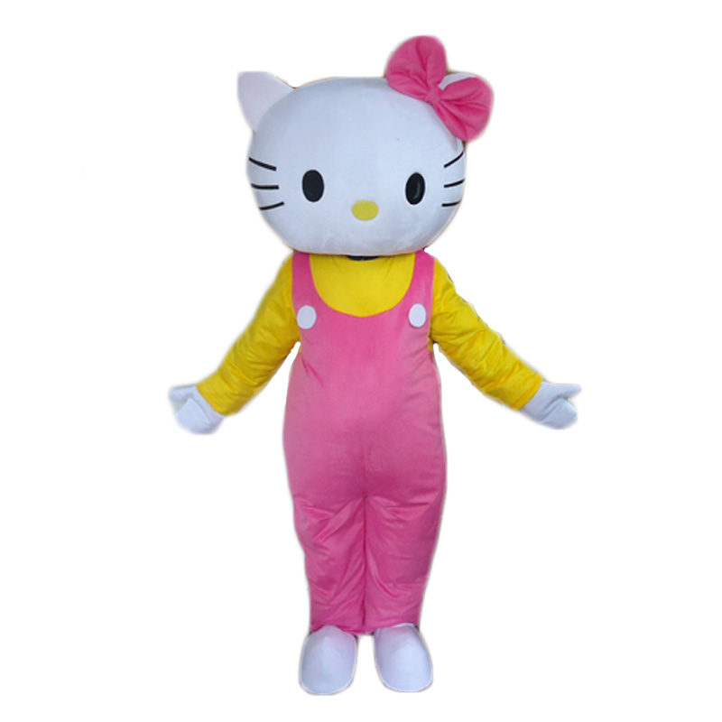High Quality Hello Kitty Mascot Costume Adult Size Cat Mascot Costume Free Shipping