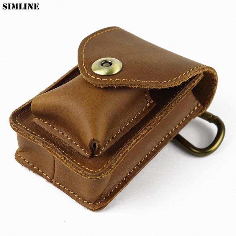 Crazy Horse Genuine Leather Waist Bag Men Vintage Cowhide Small Mini Belt Waist Pack Cigarette Case Box Pouch Male Creative Bags