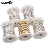 SAUVOO 10 Yard Gold Silver Color Claw Crystal Rhinestone Cup Chains SS6 SS16 For DIY Necklace