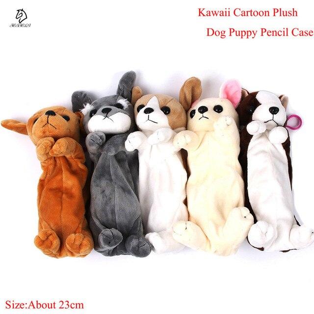 Лидер продаж Мультяшные плюшевые пенал Kawaii плюшевая собака щенок школьные канцелярские принадлежности Сумки для карандашей для детей канцелярские пенал