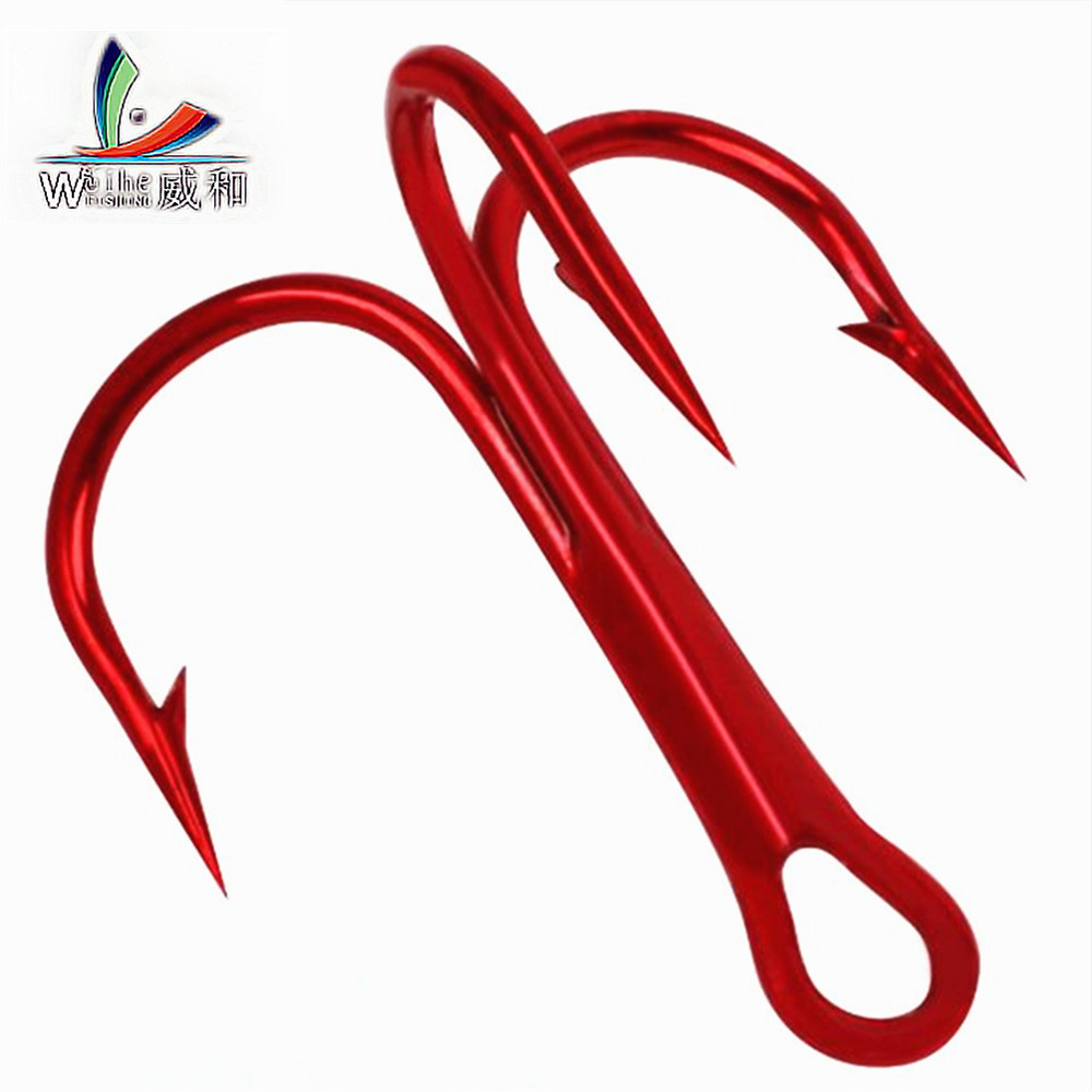 10Pcs Fishing Hooks High Steel Carbon Material Treble Red Fishing Hook There Is A Barbed Hook Round Bass 2#-10# Fishing Tools