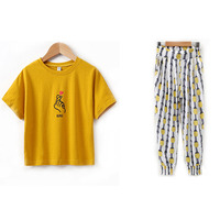 SFT 010 2018 New Summer Autumn Girls Clothing Sets Pastoral Style Pineapple Pattern Loose Leg Pants Pure Color Shorts
