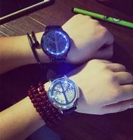 Creative Personality Minimalist Leather Normal Waterproof LED Watch Men And Women Unisex Wristwatch Electronics Casual LZ378