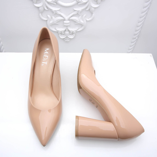 Women Shoes High Heels Patent Leather Nude Shoes Women Pumps Sexy Pointed Toe Thick Heels Fashion Shoes Woman Big Size FS-0140