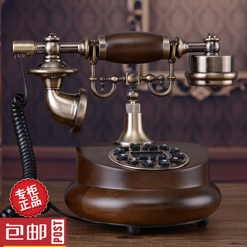 Continental retro metal wood antique telephone bell tone telephone landline phone home office decoration Decoration home art