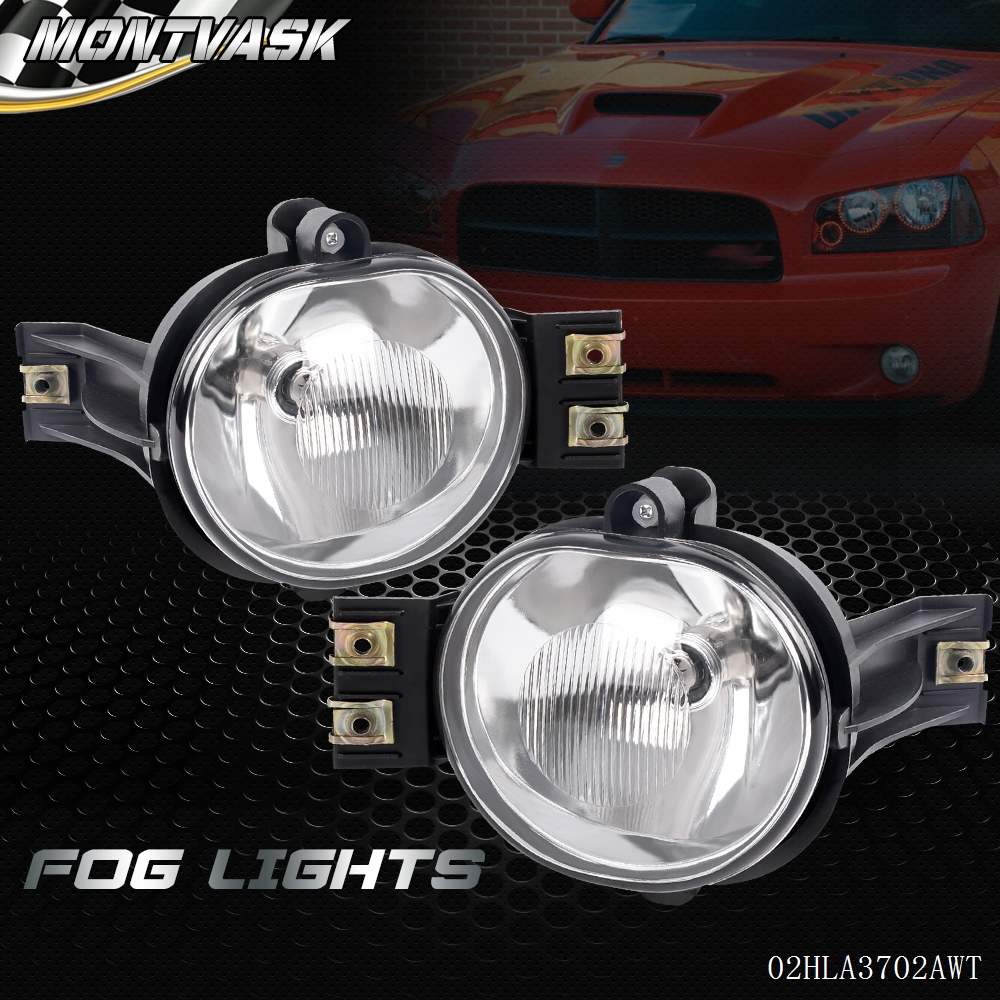 For 2002-2008 Dodge Ram 1500 2500 3500 /2004-2006 Dodge Durango Fog Lights Pair+Bulb glowshift 03 08 dodge ram cummins full size dual pillar pod complete replacement