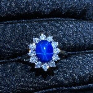 Image 4 - Starlight pierścionek z szafirem, klasyczny 925 czystego srebra gwiazda linii piękne pakowanie poczty