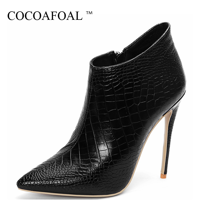 COCOAFOAL Winter Woman Ankle Boots Genuine Leather Womens Chelsea Boots Lace Up Black White Plus Size 43 Genuine Leather ShoesCOCOAFOAL Winter Woman Ankle Boots Genuine Leather Womens Chelsea Boots Lace Up Black White Plus Size 43 Genuine Leather Shoes