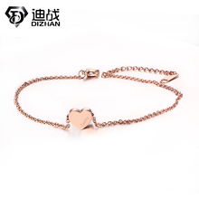New Adjustable Lucky Bracelet & Anklets Rose Gold Plated Stainless Steel Heart Love Anklets For Women Jewelry Accessories