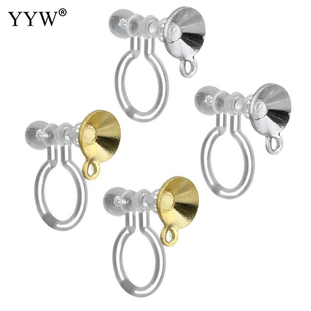 200 Pairs Br Clip On Earring Finding With Silicone Gold Color Plated Loop 5x12x11mm Hole