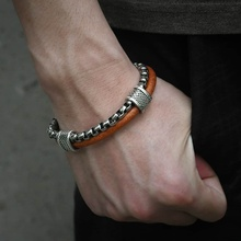 Trendsmax Leather Bracelet For Men Stainless Steel Box Chain Link Bracelet Mens Bracelets 2018 Fashion Jewelry TO Buckle DLB70