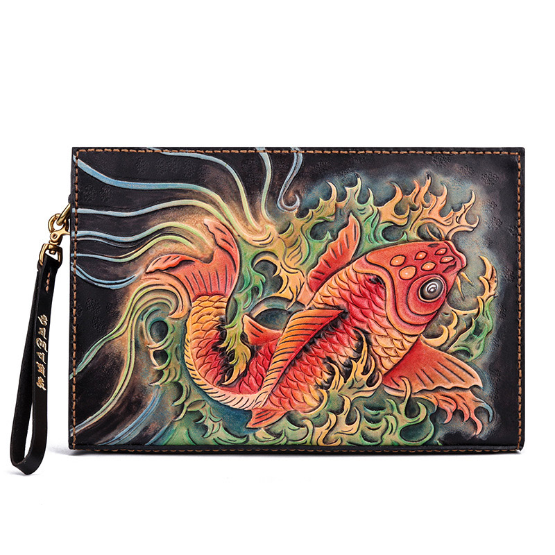 Handmade Vintage Personality Envelope Bag Crossbody Bag Top Layer Leather Carving Squid Chinese Style Clutch Bag