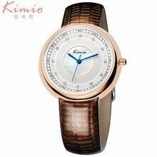 KIMIO Mujer relojes 2016 marca de Moda de lujo de Alta calidad de LA PU de Cuero de las mujeres reloj de cuarzo de acero inoxidable Completa crystal esfera de un reloj