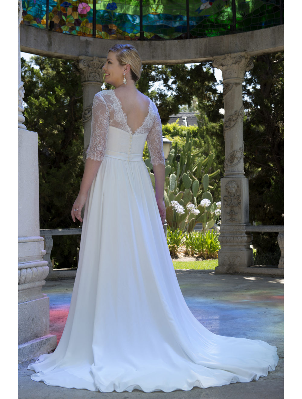US $118.43 29% OFF|Informal Modest Plus Size Wedding Dresses With 3/4  Sleeves 2019 Big Size Lace Chiffon Reception Bridal Gowns Country  Western-in ...