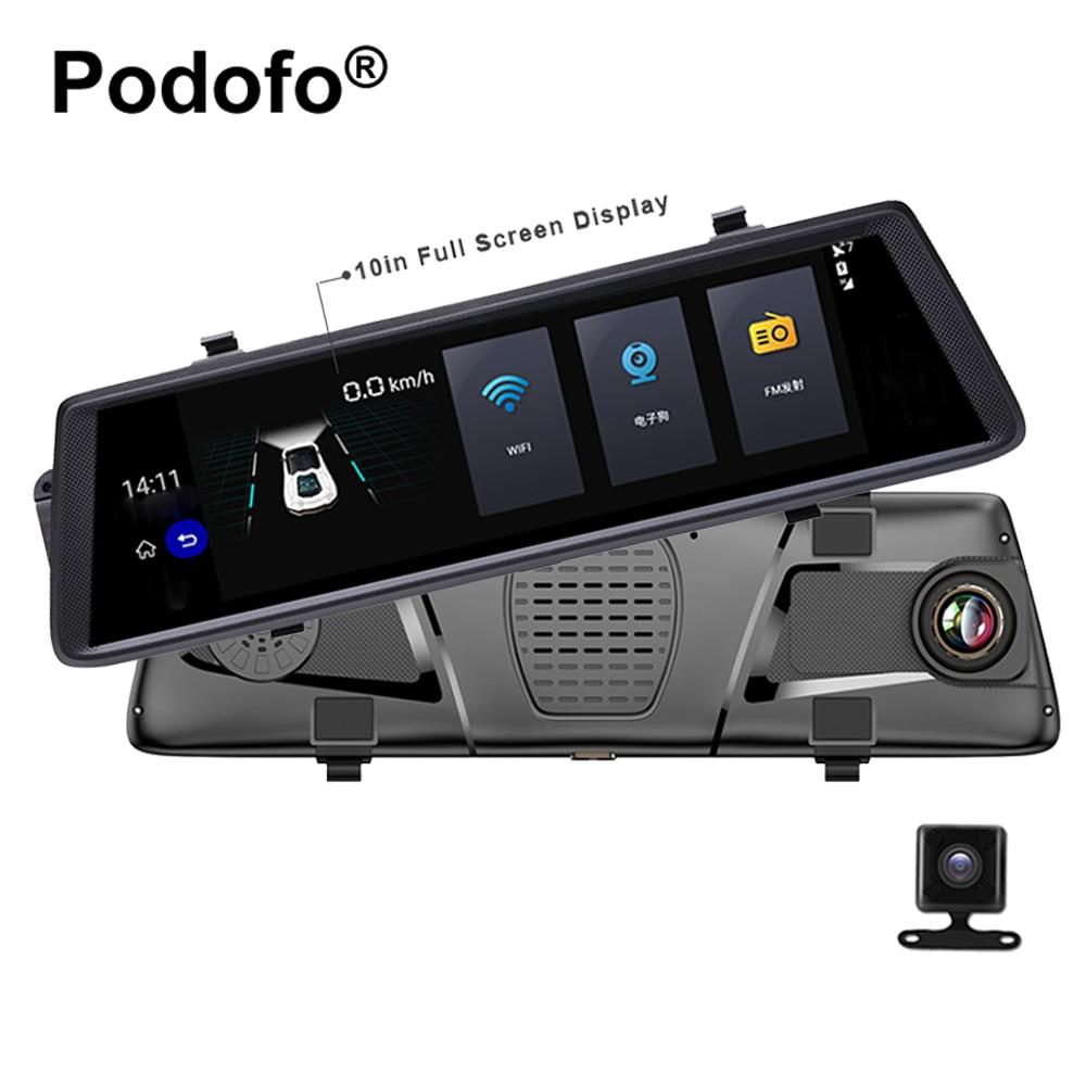 Podofo V6 Car Dvrs 10 Touch Android 5.0 GPS Navigators FHD 1080P Video Recorder Rearview Mirror Dvr WIFI 3G Dual Lens Camara