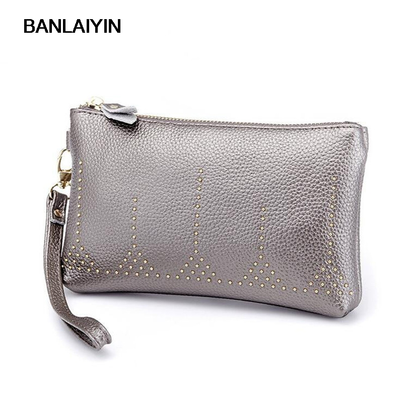 Pop Fashion Women Wallets Cow SplitLeather Rivet Zipper Wallet Ladies Long Day Clutch Coin Purse Small Card Holder
