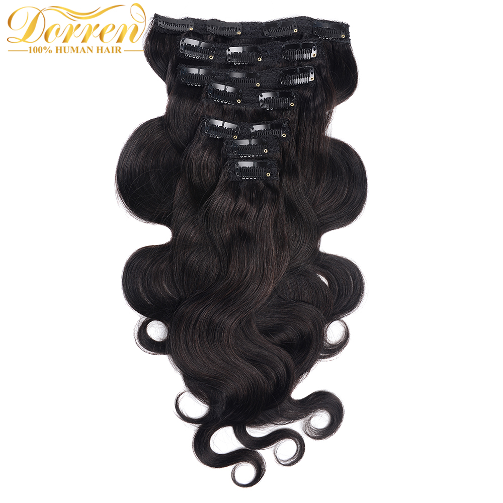 Doreen 90G To 120G Body Wave Brazilian Machine Made Remy Hair #1 #1B #2 #4 #8 Clip In Hair Extensions 16 To 22 Human Hair Clips