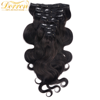 Dorren 70Gram Body Wavy Brazilian Remy Hair 1b Natural Black Clip In Human Hair Extensions 7pcs