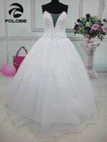 Szata Mariage 2017 Custom Made Biały/Ivory Organza Frezowanie Sequined Kryształ Suknia Balowa Suknia Ślubna Suknie Ślubne Księżniczki