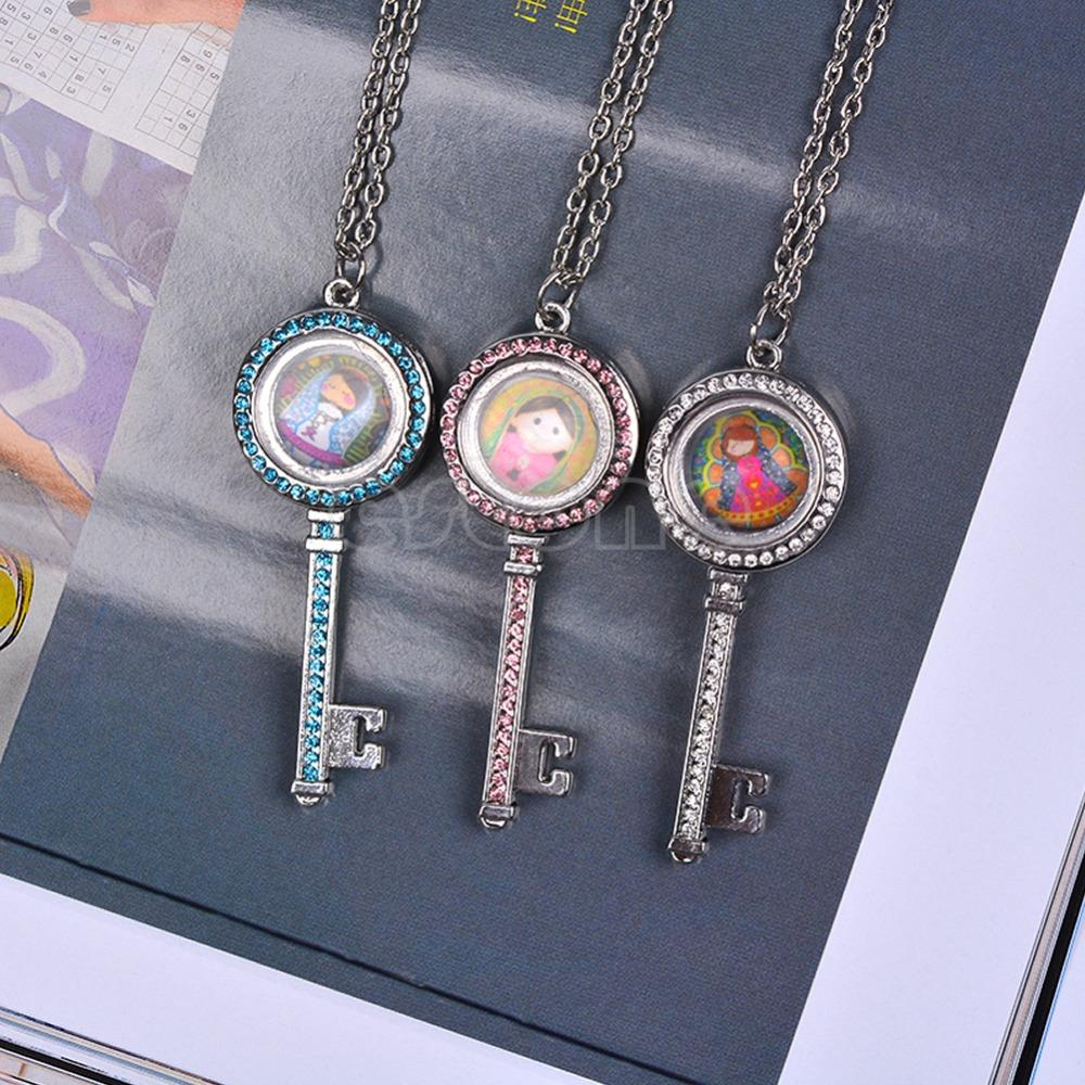 Crystal Living Memory Floating Charms Glass Key Locket Pendant Charm Necklace