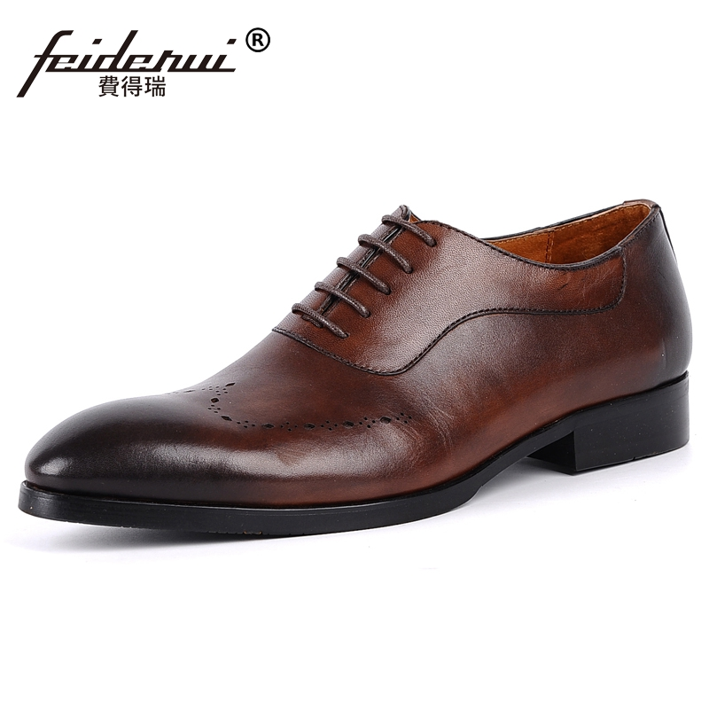 Luxury Man Carved Handmade Party Shoes Genuine Leather Wedding Oxfords Pointed Toe Breathable Men's Bridal Male Footwear JS12 цена