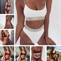 New Bikini 2018 Hot Bikini Set Women Sexy Print Swimsuit Lace Bikinis Halter Summer Swimwear Brazilian