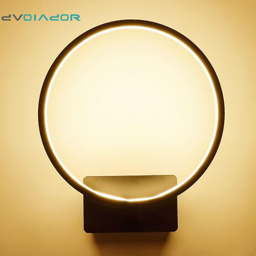 DVOLADOR Modern Art 19W Black/White Circle LED Wall Lights Living ...