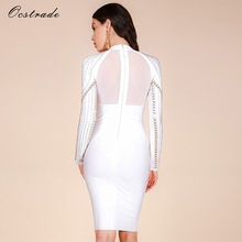 Rayon Long Sleeve White Bandage Dress