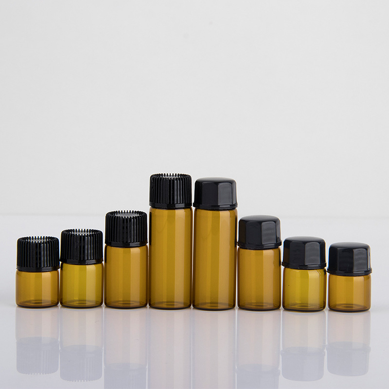 50pcs/lot 1ml,2ml,3ml,5ml Mini Empty Essential Oil Bottle In Refillable Drams Amber Glass Bottle With Plastic Lid Insert