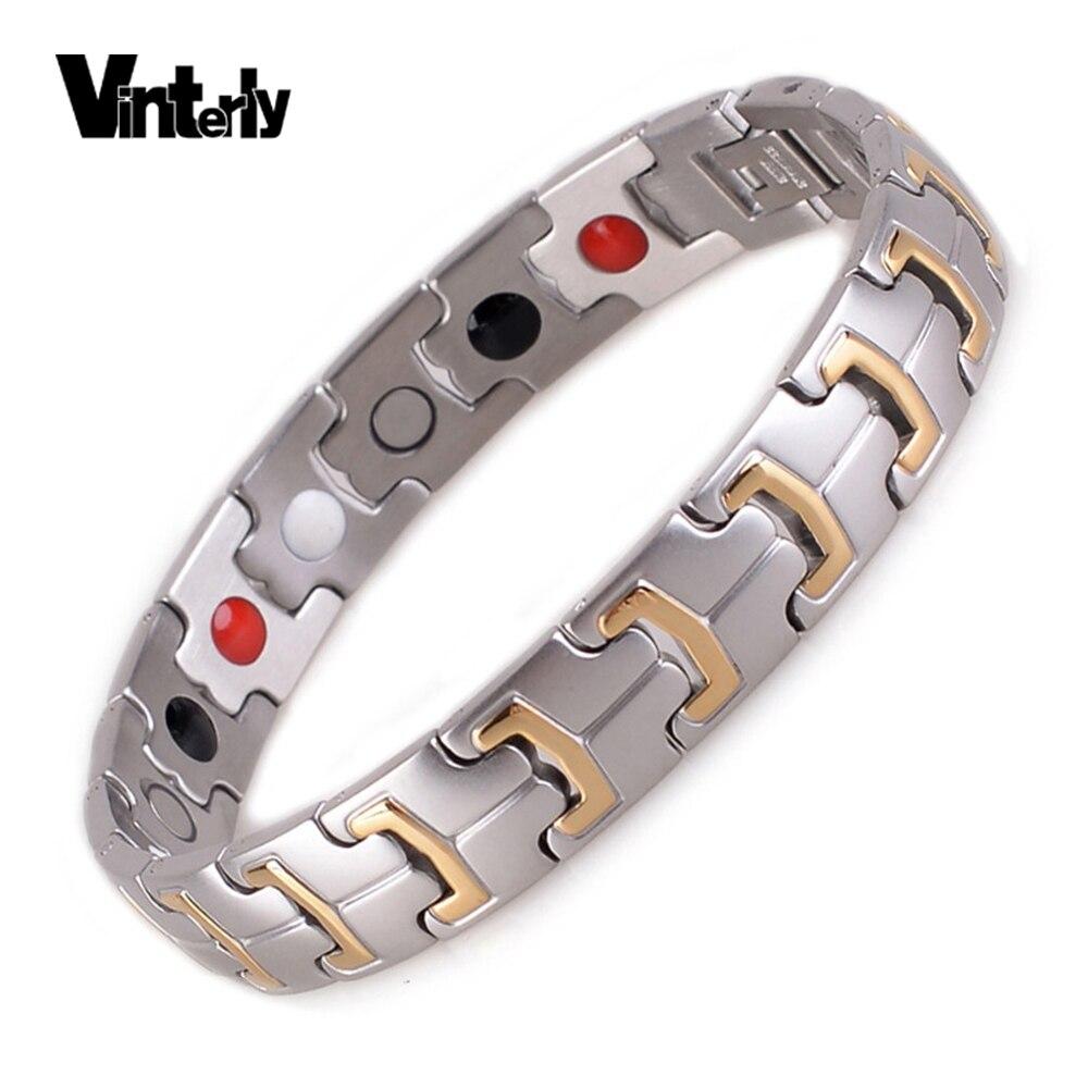 Vinterly Germaniu magnetický náramek pánské zlaté barvy šperky náramky z nerezové oceli náramky řetízek náramek pro muže 2018