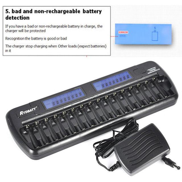 16 slots lcd embutido proteção ic inteligente inteligente carregador de bateria aa aaa ni-mh carregador ni-cd 16-bay 16-bank pilas aa