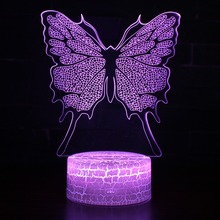 Kids Children Toys Lovely Butterfly 3D Illusion LED Night Lights Colorful Acrylic Table Lamp For Party Christmas Gift Home Decor