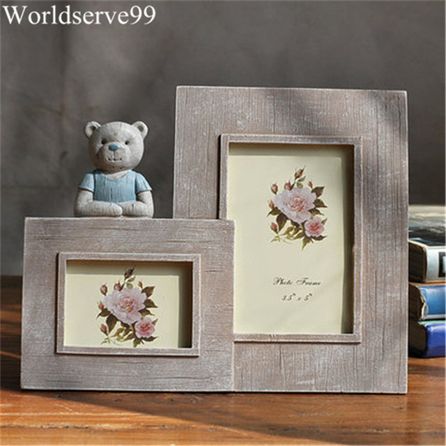 Wood Double Frames Cute Bear Resin Baby Picture Frames Home Decor