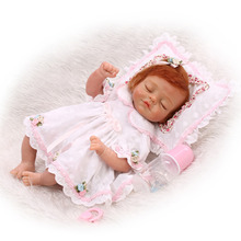 Nicery 18inch 45cm Reborn Baby Doll Magnetic Mouth Soft Silicone Lifelike Girl Toy Gift for Children Christmas White Pink Baby