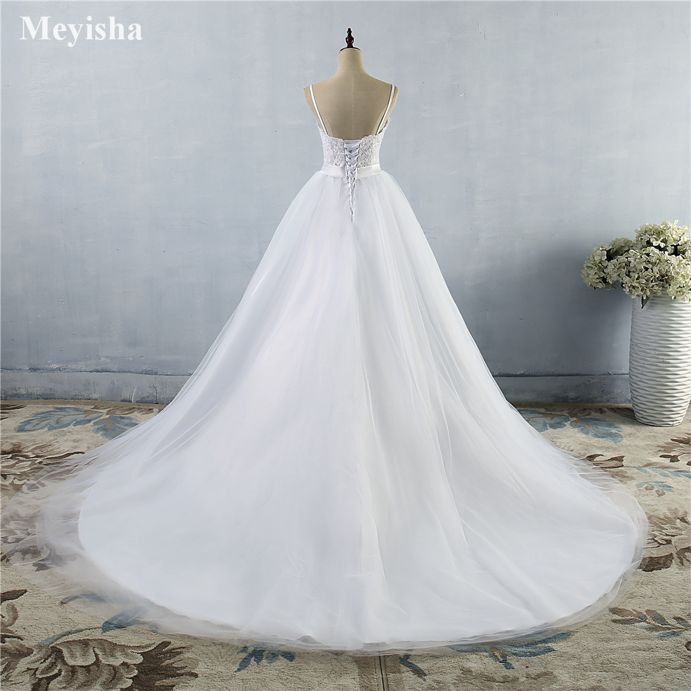 Zj9046 Beads Crystal White Ivory Wedding Dresses 2019 For Brides